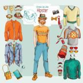 Hipster boy set — Stockvektor