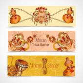 Africa sketch colored banners horizontal — Stockvektor