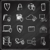 Data protection chalkboard icons — Stock Vector