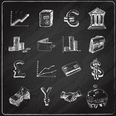 Finance icons set chalkboard — Stock Vector