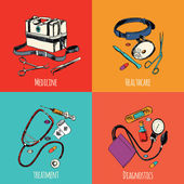 Medicine sketch icons color set — Stockvektor