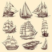 Ships and boats sketch set — Stock Vector