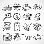 Shopping e-commerce sketch icons set — Stock Vector