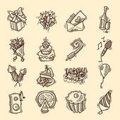 Birthday sketch icon set — Stock Vector