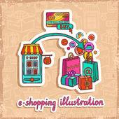 E-commerce design concept — Stock Vector