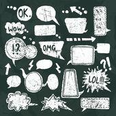 Bubble speech icons set chalkboard — Stock Vector