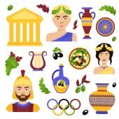 Greece decorative set — Stock Vector