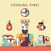 Cooking time poster — Stock Vector