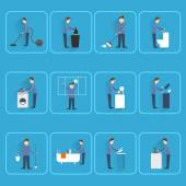 Cleaning people flat icons — Stock Vector