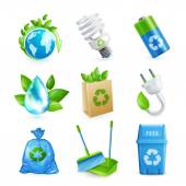 Ecology and waste icon set — Stock Vector