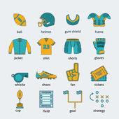 Rugby flat icons set — Stock Vector