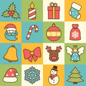 Christmas icons set flat line — Stock Vector