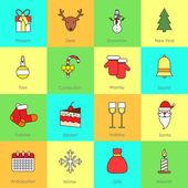 Christmas icons set flat line — ストックベクタ