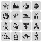 Christmas icons set black — Stock Vector