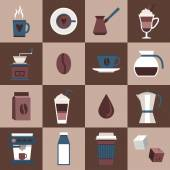 Coffee icons flat — Stock Vector