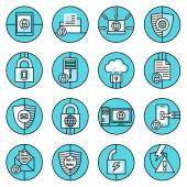 Data protection icons blue line — Stock Vector