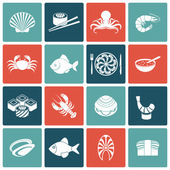 Seafood Icons Set Flat — Stock Vector