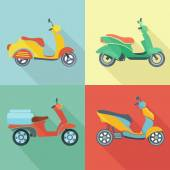 Scooter icon flat set — Stock Vector