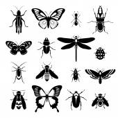 Insects icons set black and white — Stock Vector