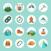 Mountain Icons Flat — Vettoriale Stock