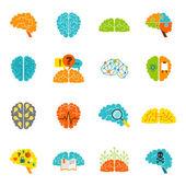 Brain icons flat — Stock Vector