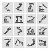Robotic arm icons black — Stock Vector