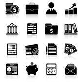 Accounting icons set black — Stock Vector