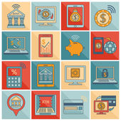 Mobile banking icons flat line — Stock Vector