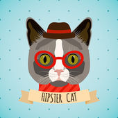 Hipster cat portrait — Stockvektor