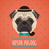Hipster dog portrait — Stockvektor