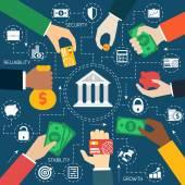 Business hands financial flowchart — Stock Vector