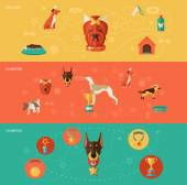 Dog icons banner set — Stock Vector