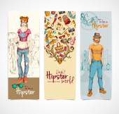 Hipster banners vertical — Stock Vector