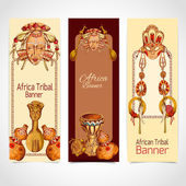 Africa sketch colored banners vertical — Stock Vector
