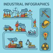 Industrial sketch infographic set — Vector de stock