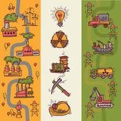 Industrial sketch banners — Vector de stock