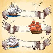 Nautical banners set set — Stock Vector