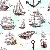 Ships and boats sketch seamless pattern — Vector de stock