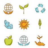 Ecology and waste icons set sketch — Stock Vector