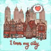 Sketch city background — Stock Vector