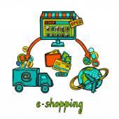 E-commerce design concept — Stockvector