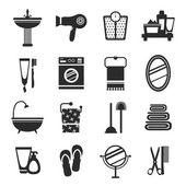 Bathroom icon set black and white — Stockvector