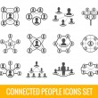 Connected people black icons set — Stock Vector #57486253