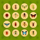 Insects flat icons set — Stock Vector