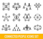 Connected people black icons set — Stock Vector