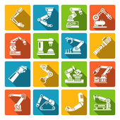 Robotic arm icons flat — Stock Vector