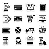 E-commerce icons set black — Stock Vector