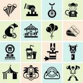 Circus icons set black — Stock Vector