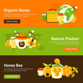 Honey flat banner set — Stock Vector