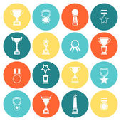 Trophy icons set flat — Stock Vector